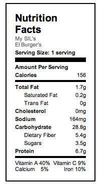 El Burger Nutritional Info