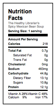 Nutrition Facts for Spicy Bean Soup