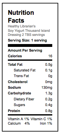 Thousand Island Dressing Nutritional Facts