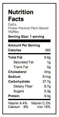 Power-Packed Waffles 9 to a serving